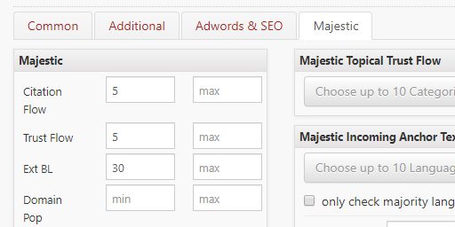 ExpiredDomains.net Filter Button Majestic Option